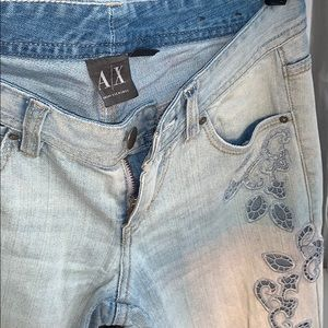 Armani Exchange blue embroidered jeans petite 0